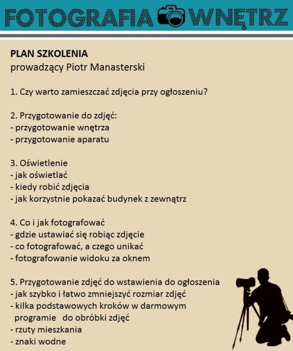Plan szkolenia Fotografia Wnętrz